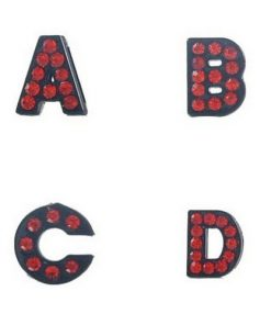 Sliding charm A-Z, black enamel red crystal 8 mm 10 pcs/bag