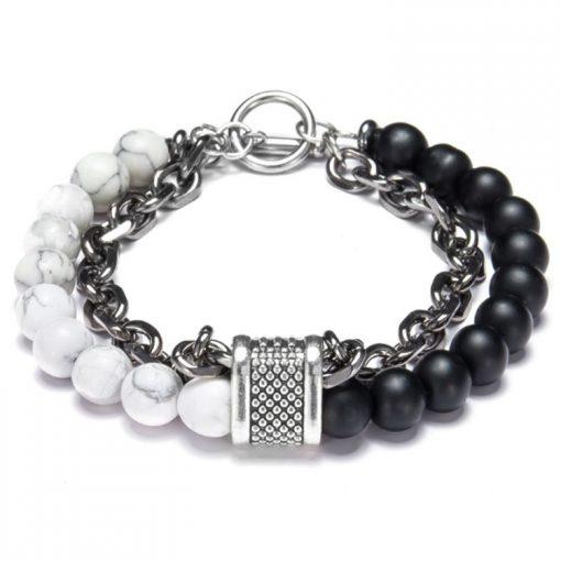 Men's Unique Natural Stone + Chain Bracelet MS-004