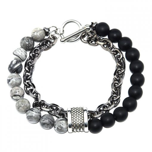 Men's Unique Natural Stone + Chain Bracelet MS-004
