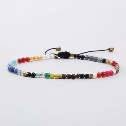 Hot Sale New Men and Women Couple 3mm 12 Constellation Lucky Stone 7 Chakra Woven Bracelet MS-001