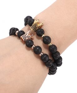 Popular in Europe and America Volcanic Stone Crown Helmet Men or Women Bracelets Wholesale MS-003