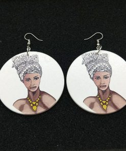 European and American Exaggerated African Human Head Pattern Round Wooden Fashion Earrings SZAX-288