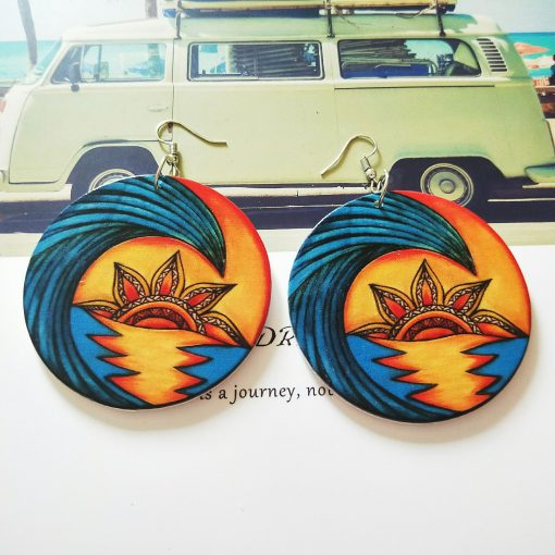 European and American Exaggerated African Human Head Pattern Round Wooden Earrings SZAX-287