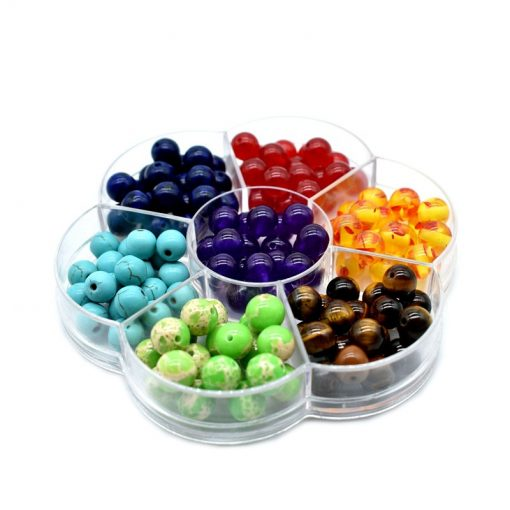 Hot sale plum box 7 chakras 8mm loose beads perforated DIY beads bracelet necklace accessory HYue-033