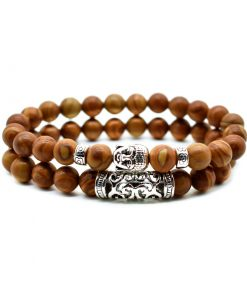 Volcanic rock wood grain stone powder crystal malachite Buddha head combination bracelet one of three ways to wear HYue-056