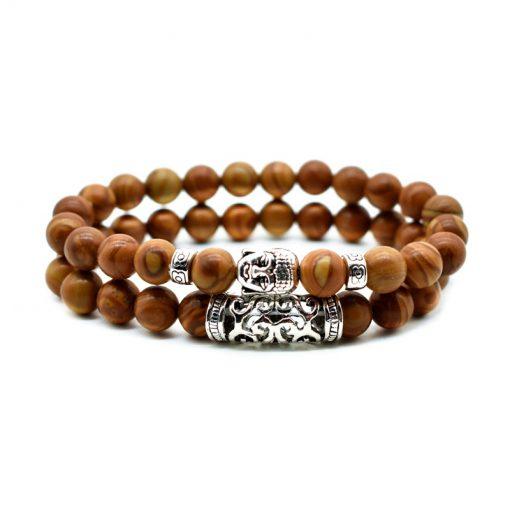 Volcanic rock wood grain stone powder crystal malachite Buddha head combination bracelet one of three ways to wear HYue-056