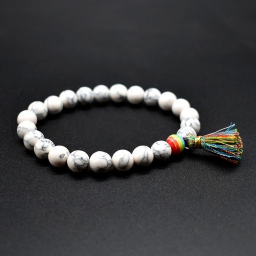 New Handmade Simple Men And Women Color Tassel Volcano Lava Incense Stone White Turquoise Bracelet Factory Wholesale HYue-057