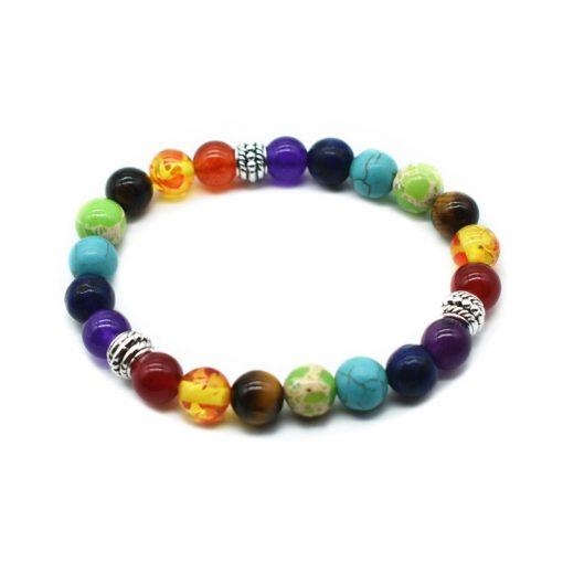 7 Hybrid Chakra Healing Balance Bead Bracelet Yoga Life Energy Natural Stone Bracelet HYue-036