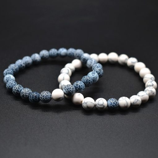 Popular couple weathered agate white turquoise black volcanic stone bracelet natural stone bracelet set HYue-042