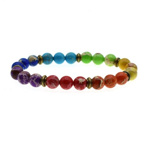 8MM Emperor Stone Bracelet Retro Style 7 Chakra Beads Color Bracelet HYue-053