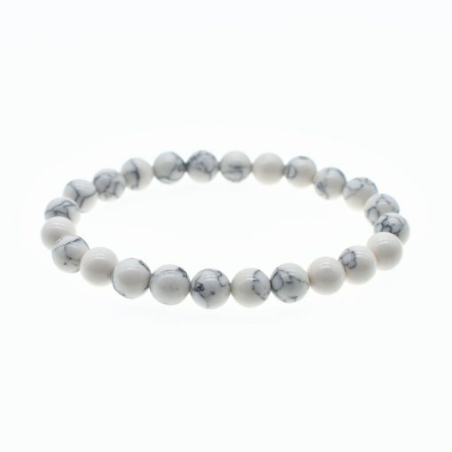 8mm Single Circle White Turquoise Bracelet Simple Men and Women Fashion Bracelet HYue-045