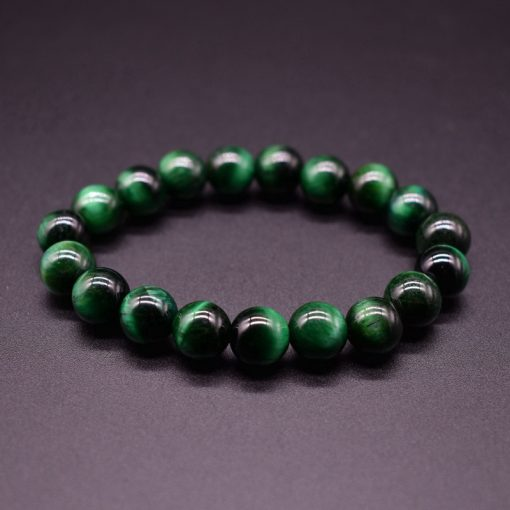 New European and American Bead Bracelets 6 8 10MM Natural Stone Green Tiger Eye Bead Bracelet HYue-043