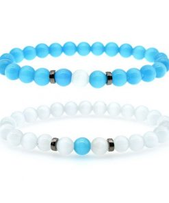 New Blue Opal Bracelet Grey Opal Bracelet Men And Women Fashion Bracelet Set HYue-035