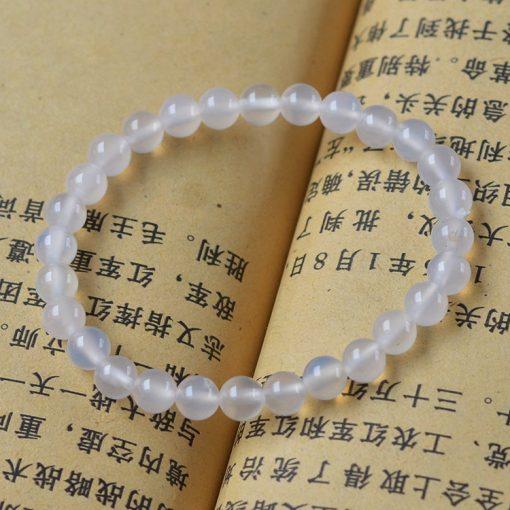 Natural white agate gemstone bracelet 6-12mm GLGJ-073