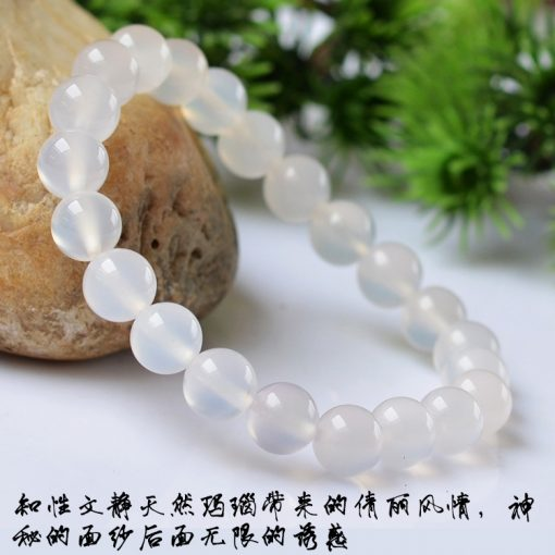 Natural white agate gemstone bracelet 6-12mm GLGJ-073