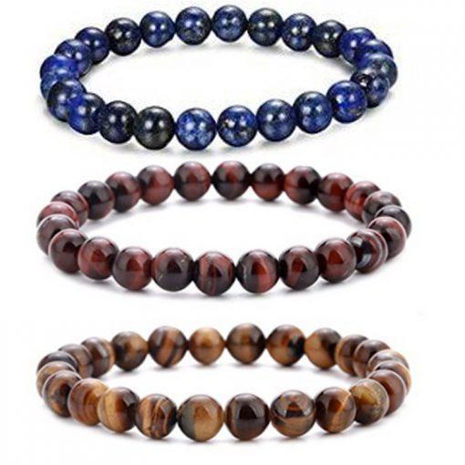 European and American popular jewelry Amazon stone volcanic rock dripping essential oil lava yoga telescopic bracelet set MS-007