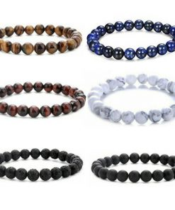 European and American popular jewelry Amazon stone volcanic rock dripping essential oil lava yoga telescopic bracelet set MS-008