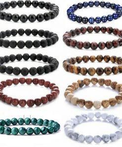 European and American popular jewelry Amazon stone volcanic rock dripping essential oil lava yoga telescopic bracelet set MS-009