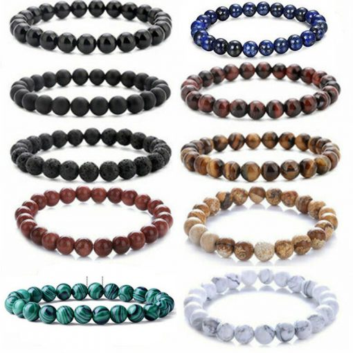 European and American popular jewelry Amazon stone volcanic rock dripping essential oil lava yoga telescopic bracelet set MS-009