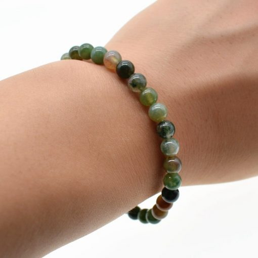 Natural Stone Indian Agate 6MM Simple Single Loop Fashion Bracelet HYue-047