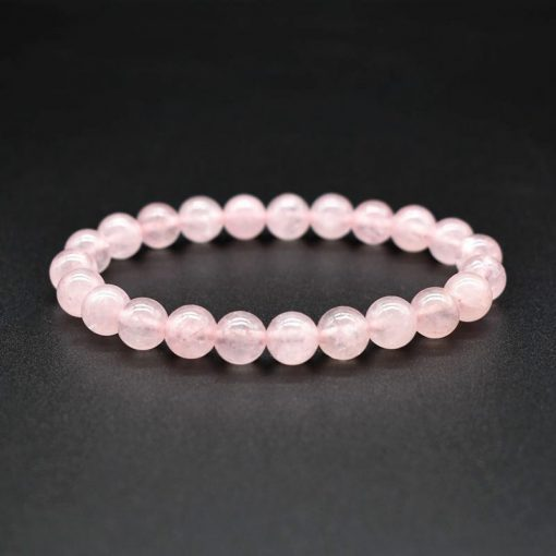 6 8 10MM Natural Pink Crystal Quartz Natural Stone Elastic Bracelet HYue-031