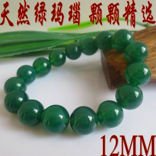 Boutique A Natural Green Agate Gem Bracelet Bead Diameter 6-14MMGLGJ-079