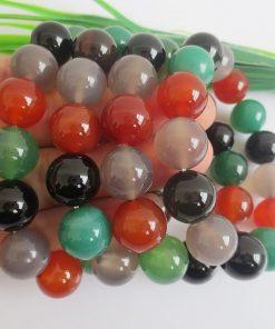 Boutique A-grade bead diameter 8-14MM colorful agate bracelet natural agate gemstone bracelet GLGJ-084