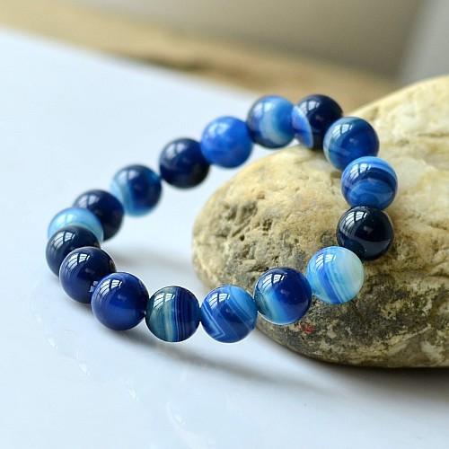 Daughter of the sea natural agate blue gemstone bracelet 6-12mm GLGJ-072