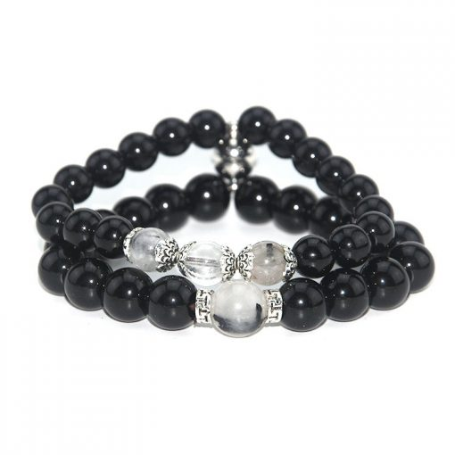 New Gravity Phase Attraction Magnet Suction Buckle Natural Black Hair Crystal Black Stone Couple Set Bracelet Factory Outlet MS-011