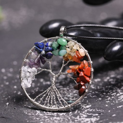 Hot Sale Natural Stone Crystal Life Tree Necklace 7 Colorful Fortune Tree Pendant Chakra Necklace HYue-038