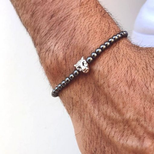 Men's Charm Hematite Cross Magnetic Therapy Bracelet, Crown Bracelet, Men's Bracelet MS-016