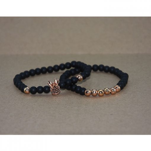Couple New 6mm Black Frosted Copper Bead Bracelet Micro Inlaid Zircon Crown Bracelet Couple Bracelet Wholesale MS-015