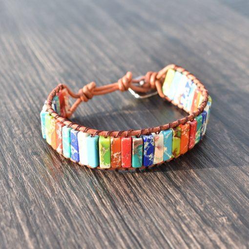 Hot Sale Woven Bracelet 7 Chakra Tube Bracelet Natural Emperor Stone Leather Bracelet Men's and Women's Hand HYue-037