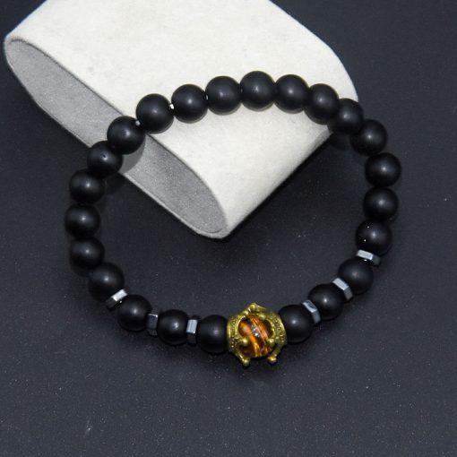 Men's Charm Bracelet Fashion Crown Tiger Eye Stone Lapis  White Turquoise Beaded Bangle Wholesale MS-013