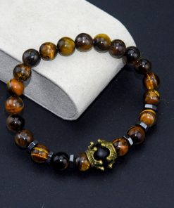 Men's Charm Bracelet Fashion Crown Tiger Eye Stone Lapis  White Turquoise Beaded Bangle Wholesale MS-013
