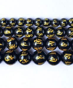 Six Words Mantra Black Agate Bead Diameter 8-14mm diy Loose Beads Jewelry Accessories Wholesale GLGJ-082