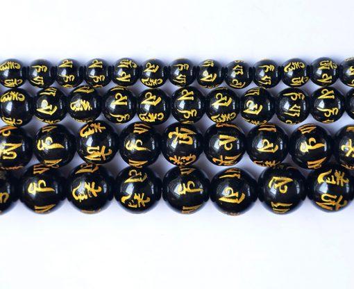 Six Words Mantra Black Agate Bead Diameter 8-14mm diy Loose Beads Jewelry Accessories Wholesale GLGJ-082