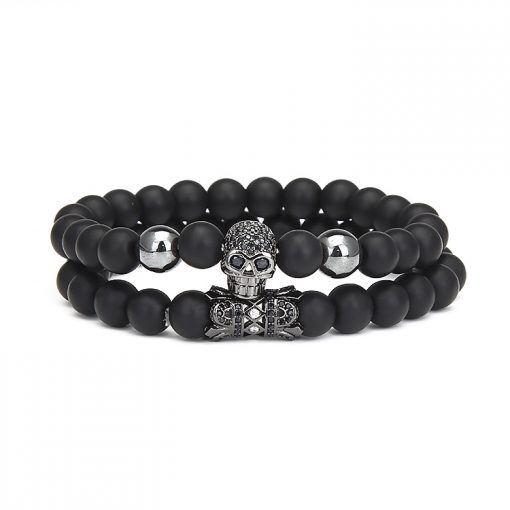 Micro Inlaid Zircon Skull Bracelet Set Frosted Stone Bracelet Wholesale MS-025