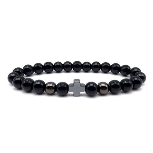 Men's Black Hematite Cross Set Bracelet, MS-022