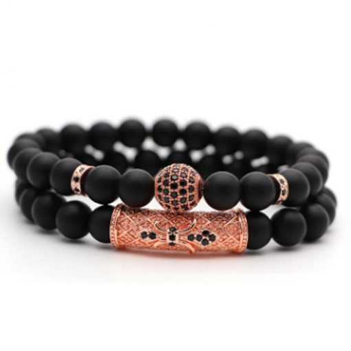 New European and American micro-inlaid zircon crown lion head frosted bracelet bracelet factory direct sales MS-026