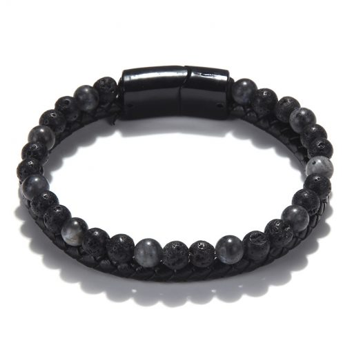 Men's Fashion Mixed Color Natural Stone Bracelet Real Leather Hand-Knitted Bracelet New Listing MS-024