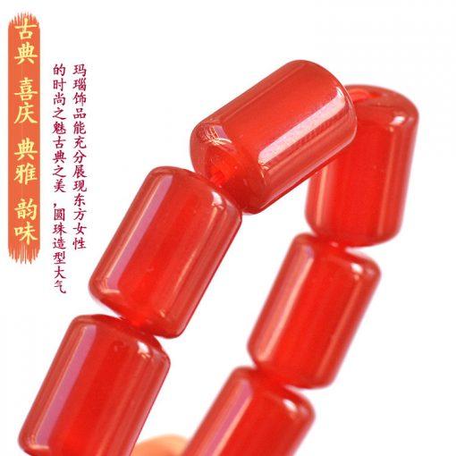 12x8mm natural cylindrical red agate finished bracelet GLGJ-087