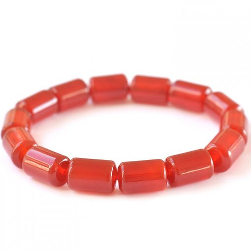 12x8mm natural cylindrical red agate finished bracelet GLGJ-087