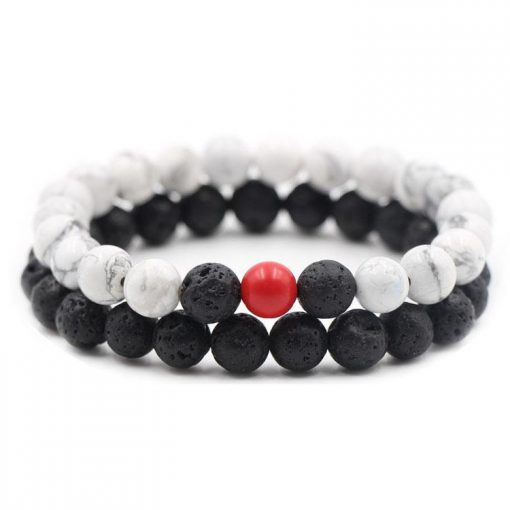 Couple New 8mm Black Matte Natural White Turquoise Tiger Eye Natural Stone Bracelet Manufacturers Supply MS-014