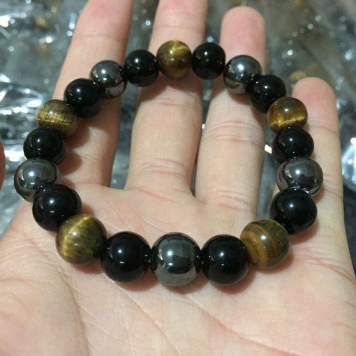 Tiger Eye Black Agate Obsidian Natural Stone Bracelet 10mm Bead Bracelet Wholesale HYue-034
