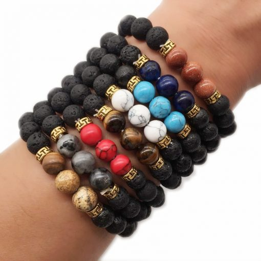 8MM volcanic stone natural stone beaded bracelet emperor stone bracelet mixed batch HYue-062