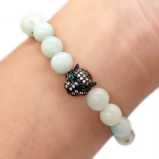8MM Amazon Stone Leopard Head Diamond Natural Stone Bracelet Green Eyed Leopard Jewelry Wholesale HYue-060