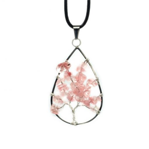 Natural Stone Powder Crystal Pendant Natural Gravel Life Tree Colorful Fortune Tree Pendant HYue-063