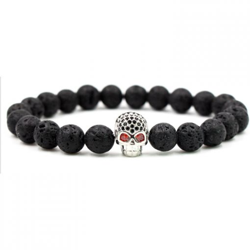 Hot Sale Micro Inlaid Zirconium Skull Boutique Bracelet 8mm Black Lava Volcanic Stone Bead Bracelet Wholesale MS-020
