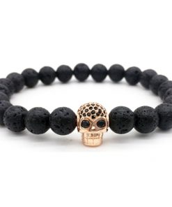 Hot Sale Micro Inlaid Zirconium Skull Boutique Bracelet 8mm Black Lava Volcanic Stone Bead Bracelet Wholesale MS-020